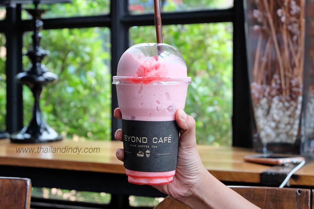 รีวิว Strawberry smoothies ร้าน Beyond cafe (บียอนคาเฟ่)