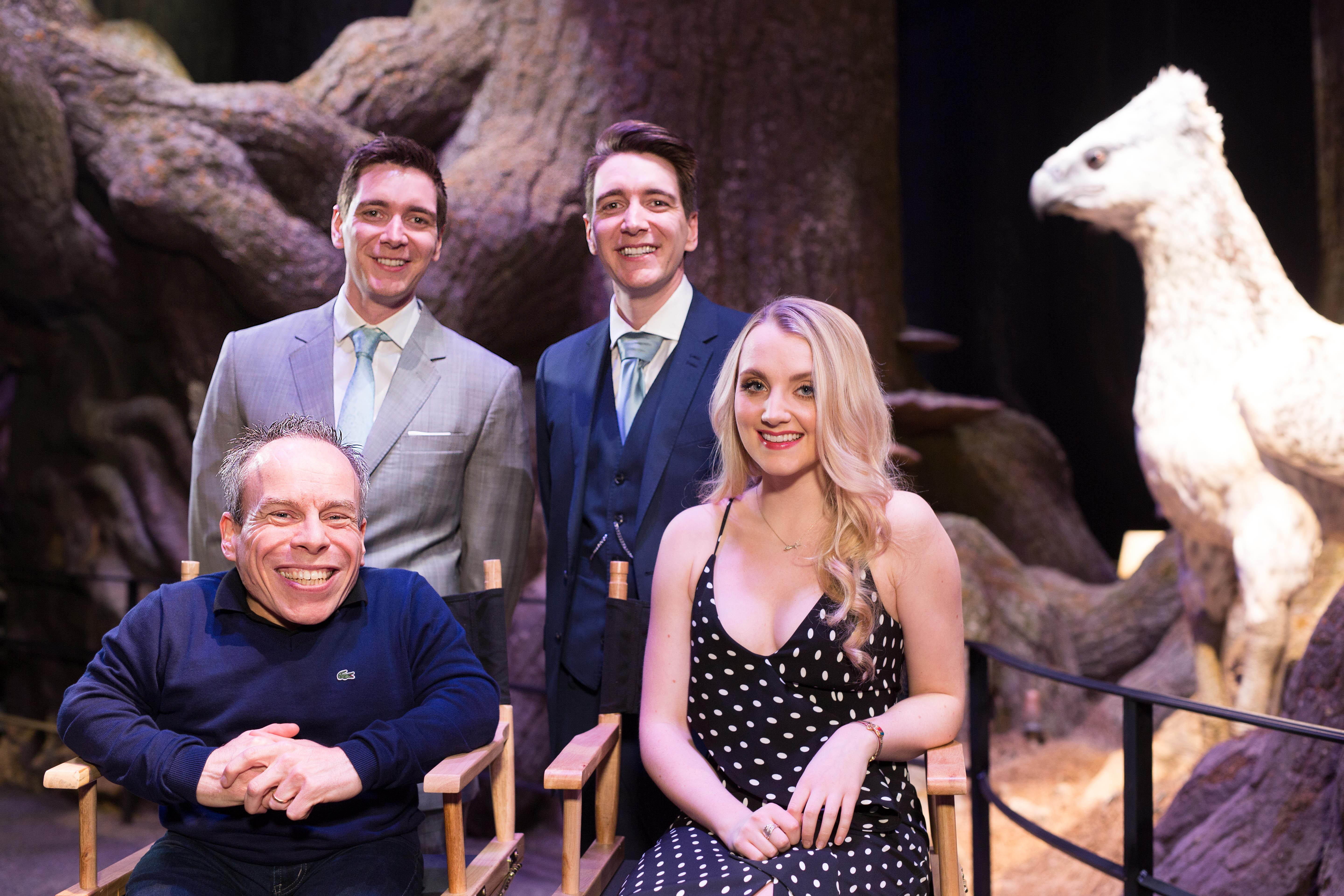 EDITORIAL USE ONLY L-R Warwick Davis, James Phelps, Oliver Phelps and Evanna Lynch who play Professor Flitwick, the Weasley Twins and Luna Lovegood in the Harry Potter film series during an exclusive visit to the new Forbidden Forest expansion at Warner Bros. Studio Tour London – The Making of Harry Potter, which opens to the public on March 31st. PRESS ASSOCIATION Photo. Picture date: Tuesday March 28, 2017. Photo credit should read: David Parry/PA Wire